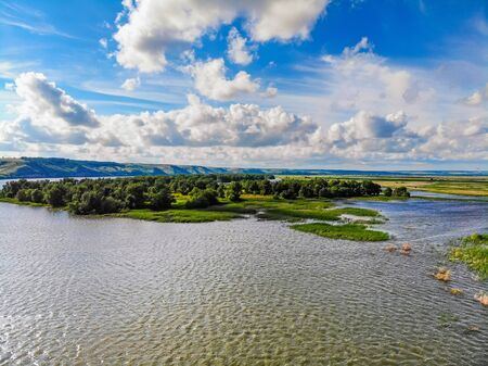 View of steppe and upper river Don in Russia. Beautiful summer landscape Stock Photo
