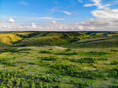 Beautiful picturesque spring landscape with green steppe