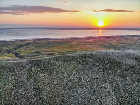 Beautiful landscape with sunset over saline lake Baskunchak Reklamní fotografie