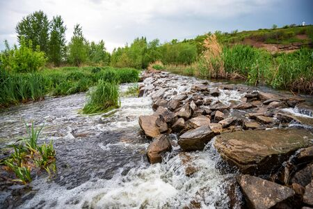 Whitewater river in green steppe beautiful view