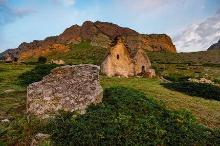 Medieval tombs in City of Dead near Eltyulbyu, Kabardino-Balkaria, Russia