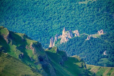 View of beautiful mountain slope in northern caucasus covered with green forest