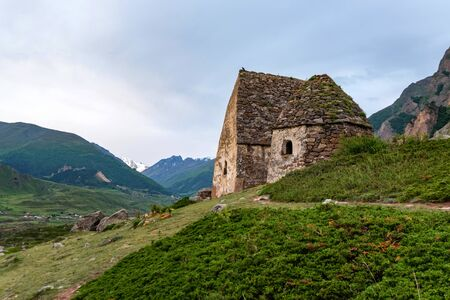 View of medieval tombs in City of Dead near Eltyulbyu, Russia Archivio Fotografico