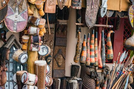 Local Market Tool >> Variety Of African Souvenirs Exposed For Sale In Local