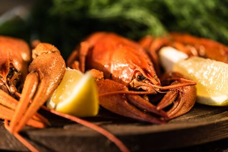 Boiled crayfish with lemon on rustic wooden background