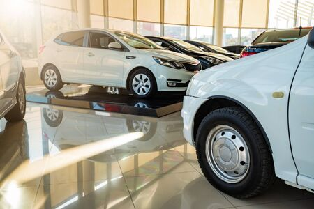 New cars at sunlit dealer showroom close view 免版税图像