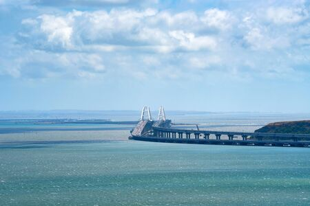 Distant view of new Crimean bridge in Kerch strait
