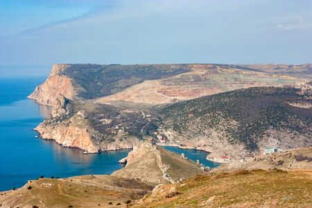 Distant view of the Balaklava bay in Crimea, Russia Фото со стока