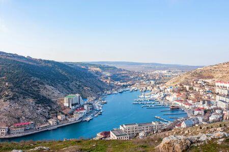 Distant view of the Balaklava bay in Crimea, Russia Фото со стока - 131066306
