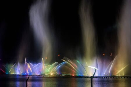 View of musical fountain show in Grozny, Russia Фото со стока - 131066504