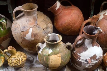 Ancient ceramic pottery found in Tanais. Archeological items 스톡 콘텐츠