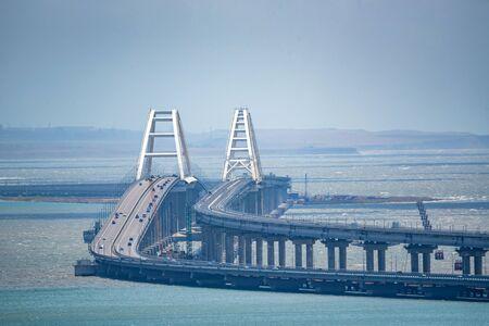 Distant view of new Crimean bridge in Kerch strait Фото со стока - 130636375