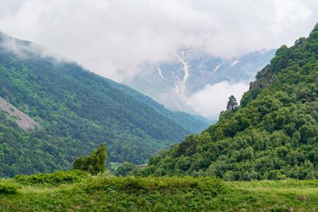 Scenic view of foggy mountains. Clouds and green mountain forest view Фото со стока - 130636455