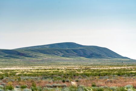 Beautiful distant view of Big Bogdo Mount in Astrakhan region, Russia