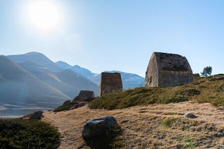 View of medieval tombs in City of Dead near Eltyulbyu, Sunny Russia in autumn