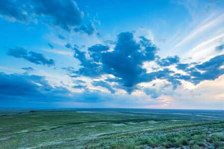 Beautiful peaceful landscape of Bogdo-Baskunchak Nature Reserve in Astrakhan region, Russia Фото со стока