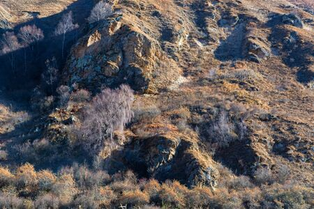 Late fall landscape of mountains in Kabardino-Balkaria, Russia