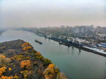 Picturesque view of the river port in city of Rostov-on-Don on cloudy fall day taken by drone Фото со стока - 136270685