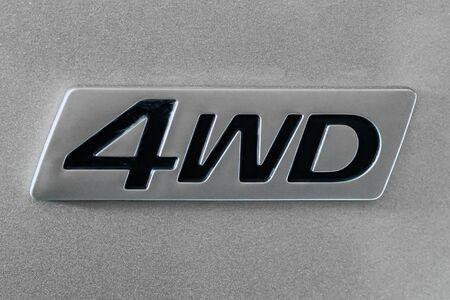 Close-up of four wheel drive sign on a car Banco de Imagens