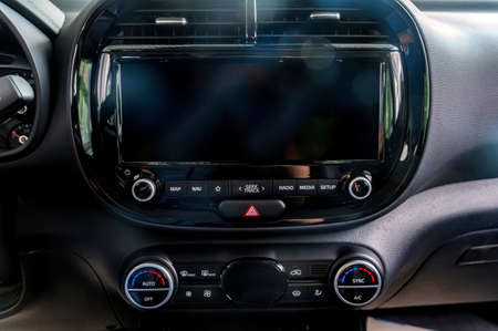 Multimedia system of modern car. Interior concept