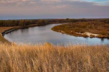 Aerial view of steppe and river Don in Russia. Beautiful autumn landscape