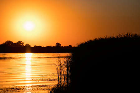 Beautiful summer sunrise landscape with steppe and river