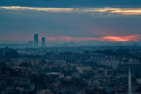 Evening panoramic view of Istanbul under the blue and red autumn sky