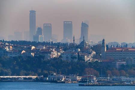 ISTANBUL, TURKEY - 10 DECEMBER 2020: panoramic view on Istanbul over Bosphorus Редакционное