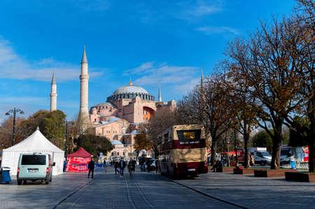 ISTANBUL, TURKEY - 10 DECEMBER 2020: Beautiful view on Hagia Sophia Grand Mosque Редакционное