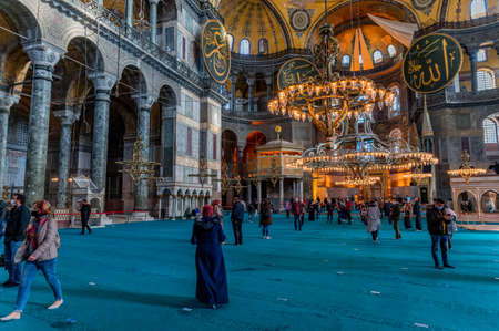 ISTANBUL, TURKEY - 10 DECEMBER 2020: tourista at Hagia Sophia Mosque interior