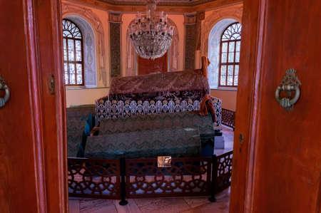 BURSA, TURKEY - 10 DECEMBER 2020: Mausoleums of Osman Gazi interior