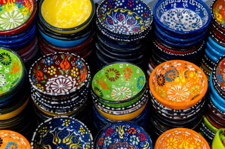 Collection of Traditional Turkish ceramics at the Bazaar in Turkey.