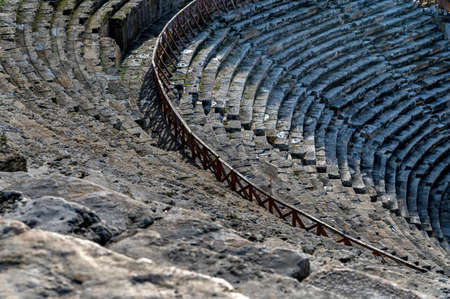 Roman amphitheater in the ruins of Hierapolis, in Pamukkale, Turkey.