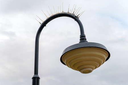 Close up of streetlamp with the protection of birds against the cloudy sky