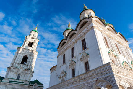 Beauiful view on cathedral in Astrakhan kremlin, Russia