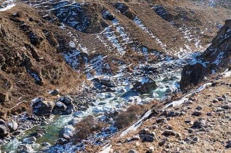 Beautiful peaceful view of water in winter mountain river. Фото со стока