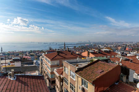 Red tiled roofs of istanbul overlooking the bosphorus