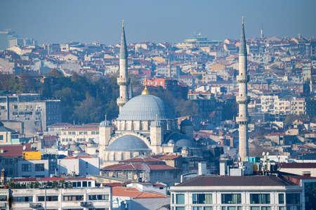 The beautiful view on Suleymaniye Mosquei Istanbul, Turkey.
