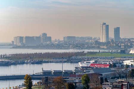 ISTANBUL, TURKEY - 10 DECEMBER 2020: panoramic view on Istanbul over Bosphorus Publikacyjne