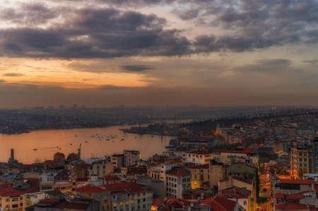 Istanbul, Turkey - 9 DECEMBER 2020: Red roofs istanbul overlooking bosphorus