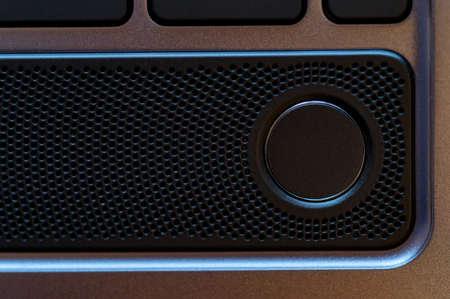 Close up photo of laptop fingerprint sensor button Foto de archivo