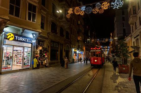Istanbul, Turkey - 9 DECEMBER 2020: old red retro tram on Istanbul street Publikacyjne