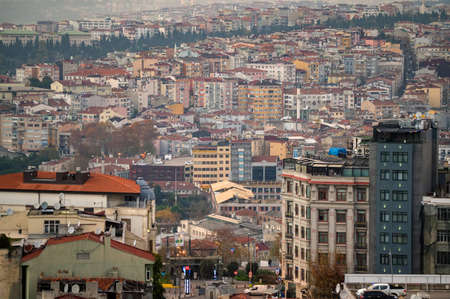 ISTANBUL, TURKEY - 9 DECEMBER 2020: istanbul red roofs city view