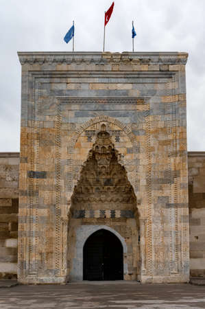 Close up of entrance to the Sultanhani caravansary with beautiful aiwain element