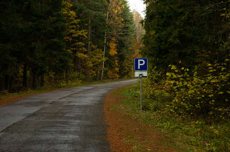 In the autumn in the forest asphalt road with a parking sign, car