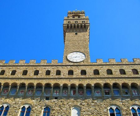 palazzo: View of main tower of Palazzo Vecchio Florence Italy