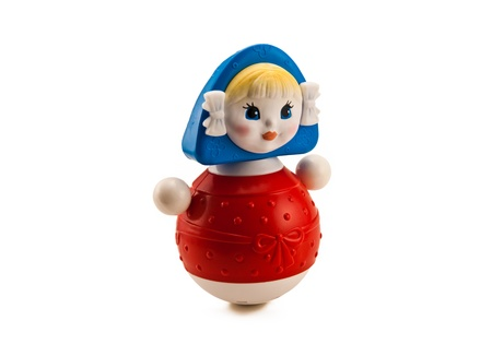 Russian weeble doll on white photo