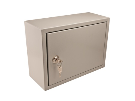 ambry: Metal grey box with door, padlock and keys in the keyhole isolate on white.