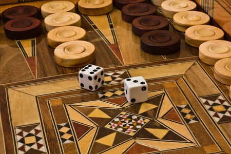 2 dice on the backgammon desk photo