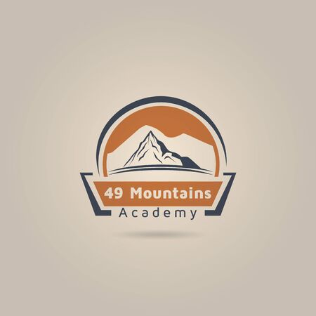 Vintage adventure mountain academy vector logo design inspiration.